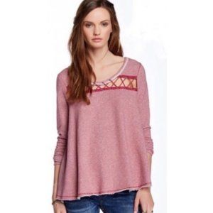Free People Lacey Love Berry Pullover Sweatshirt